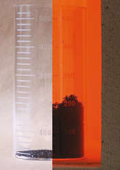 Flame Applied to George H. Luh's Expandable Graphite Nylon Compound (L), Expandable Graphite Heat Expansion Before (Center L) and After (R) Ignition