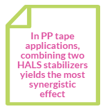 Combining two HALS stabilizers yields the most synergistic effect